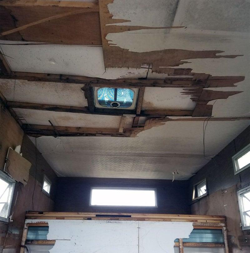 Ceiling Torn Up Camper