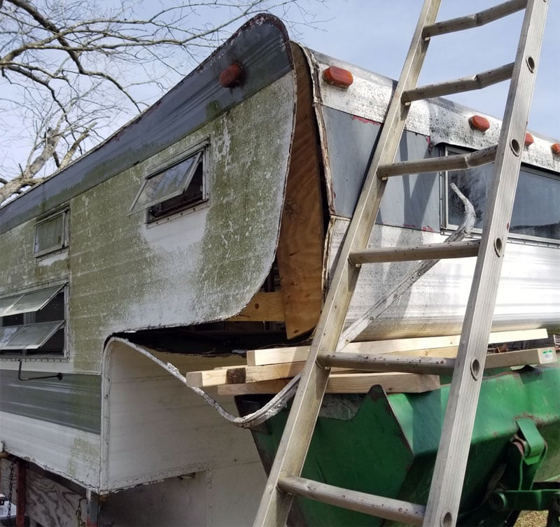 Exterior Siding Rebuild Retro Camper