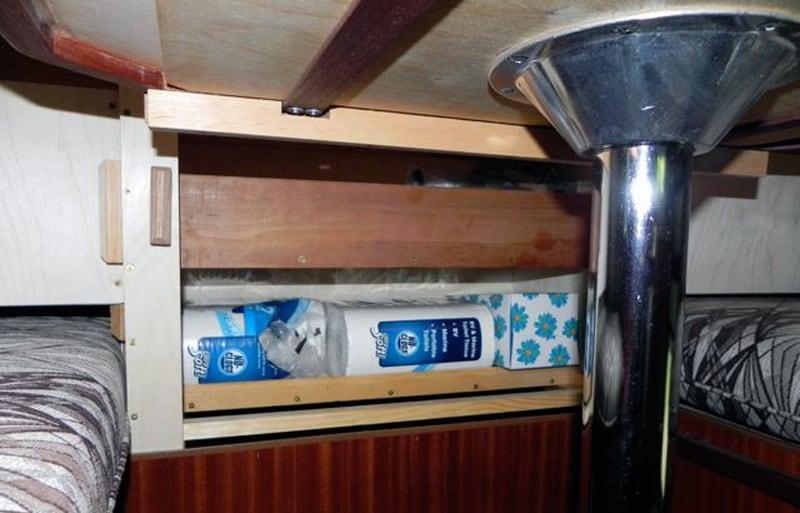 Window Storage Shelves Under Table