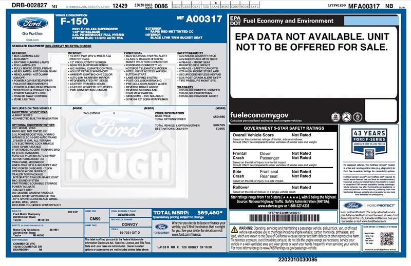 2021 Ford F150 Window Sticker
