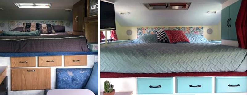 Bedroom Before And After Camper Restoration