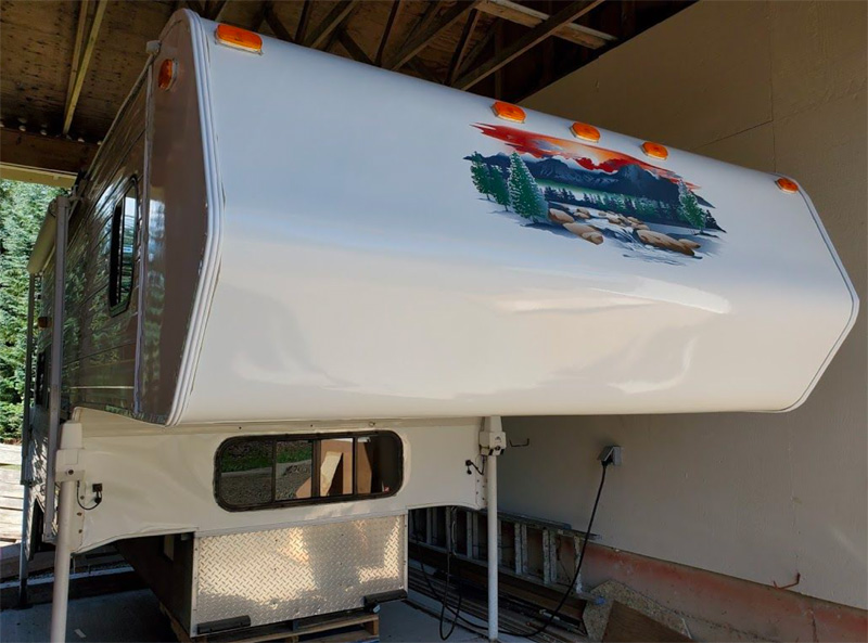 Camper Nose Restoration With Mountain Scene Decals