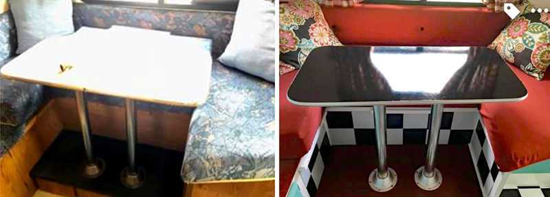 Dinette Table Before After Renovation Shadow Cruiser