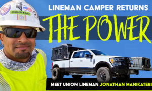 Lineman Worker Returns Power