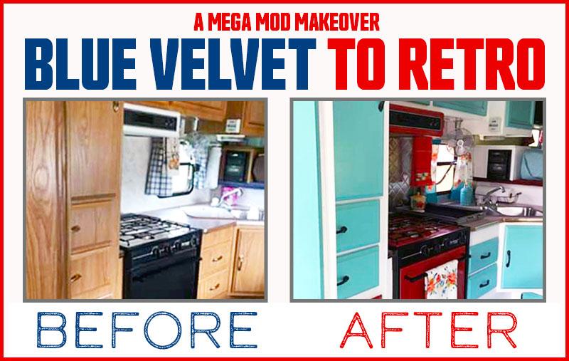 Camper Makeover Blue Velvet to Retro