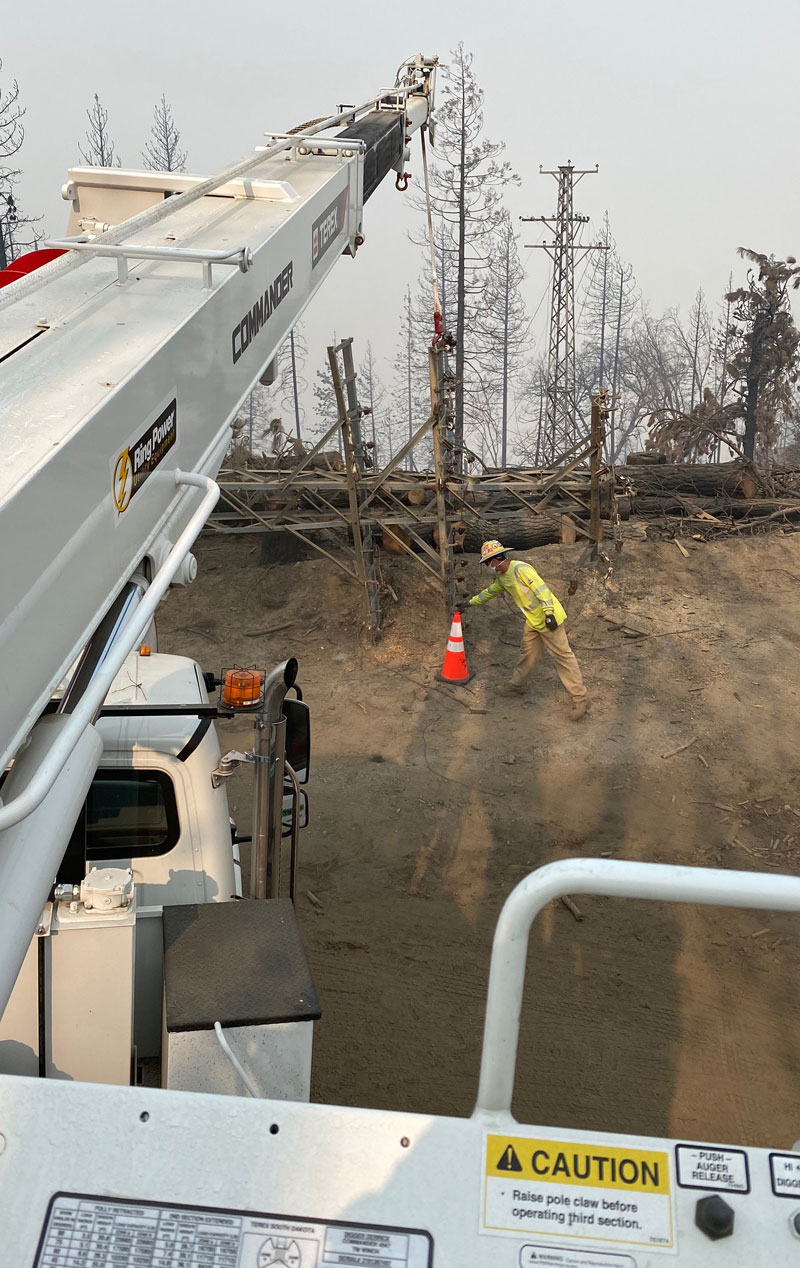 Poles Restoring Power Creek Fire California
