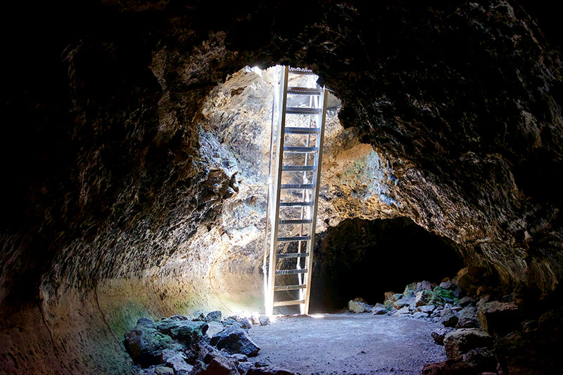 Stairs Into Lava Beds California Cave