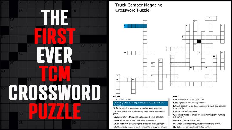 Truck Camper Crossword Puzzle