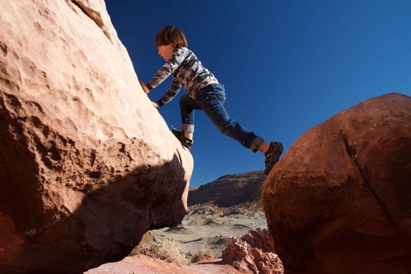 Climbing Rocks And Hiking Kids