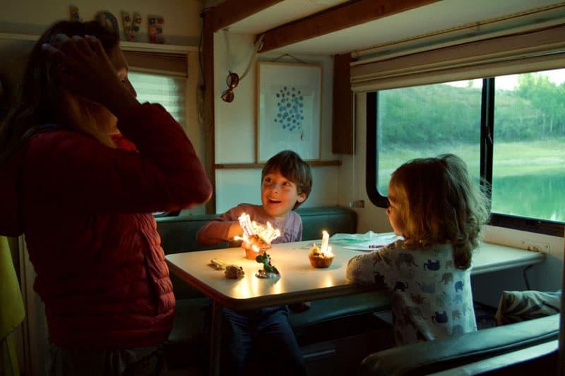 Kids In Dinette Celebrating