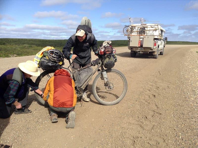 Bike repair just outside of Tuk