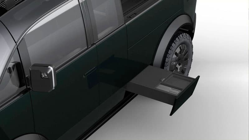 Canoo Pull Out Tray In Truck Bed