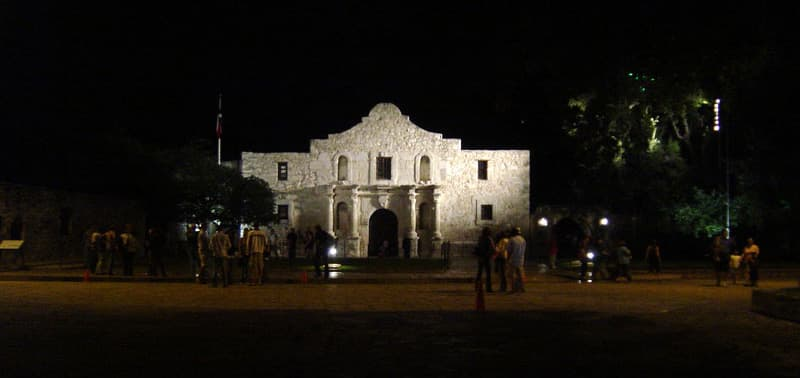 San Antonio Texas Alamo At Night