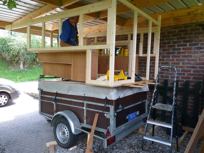 Built The Camper On A Cart So It Could Be Moved Around