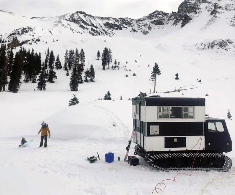Mountain Scene Colorado Camp With Snowcat