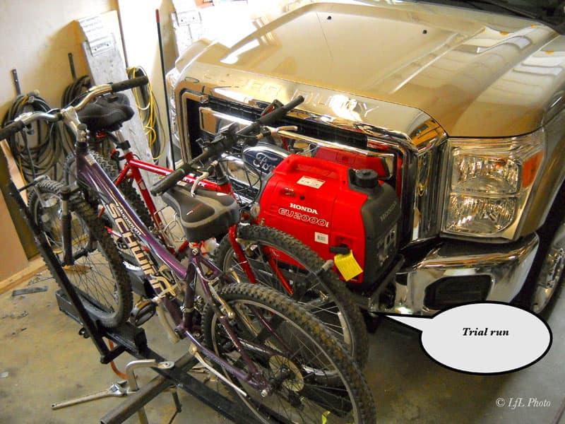 Bike Generator Tire Rack Trial Run