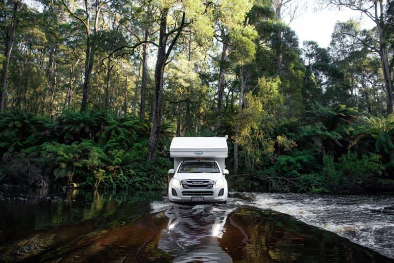 Crossing The Black River Near Forrest In The NorthWest Tasmania
