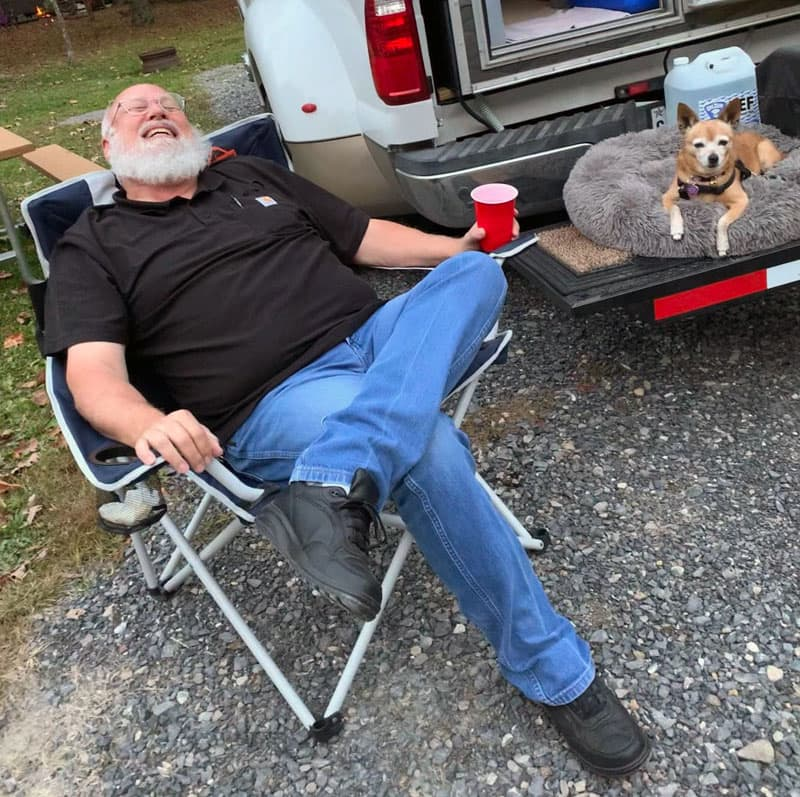 Scampi And Mike At Campground