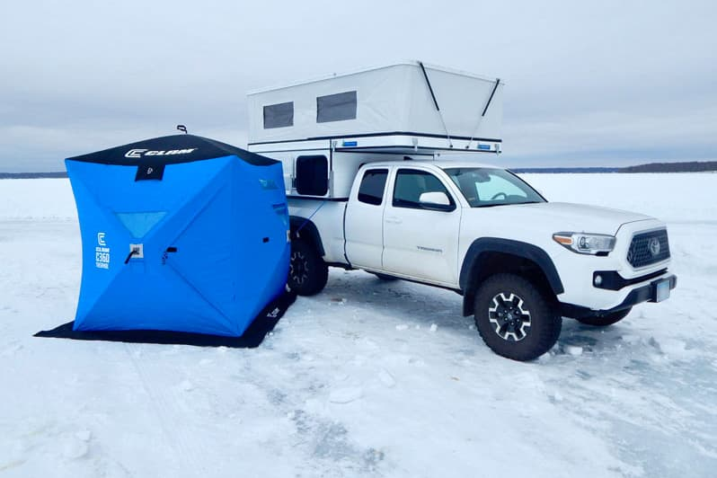 Ice Fishing With Clam Hub Shelter