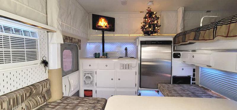 Pop-up truck camper remodel bright