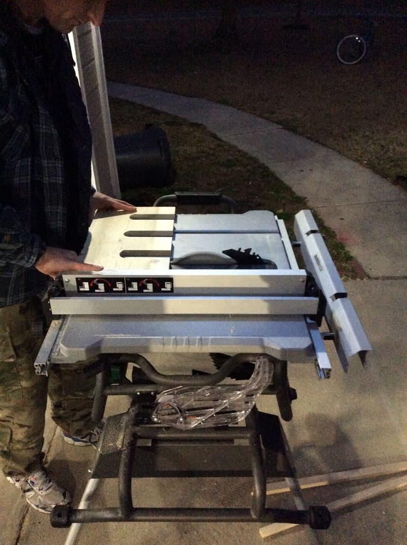 Rifle And Gun Rack In Camper cutting wood