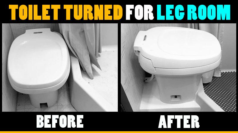 Camper toilet moved for more bathroom leg room