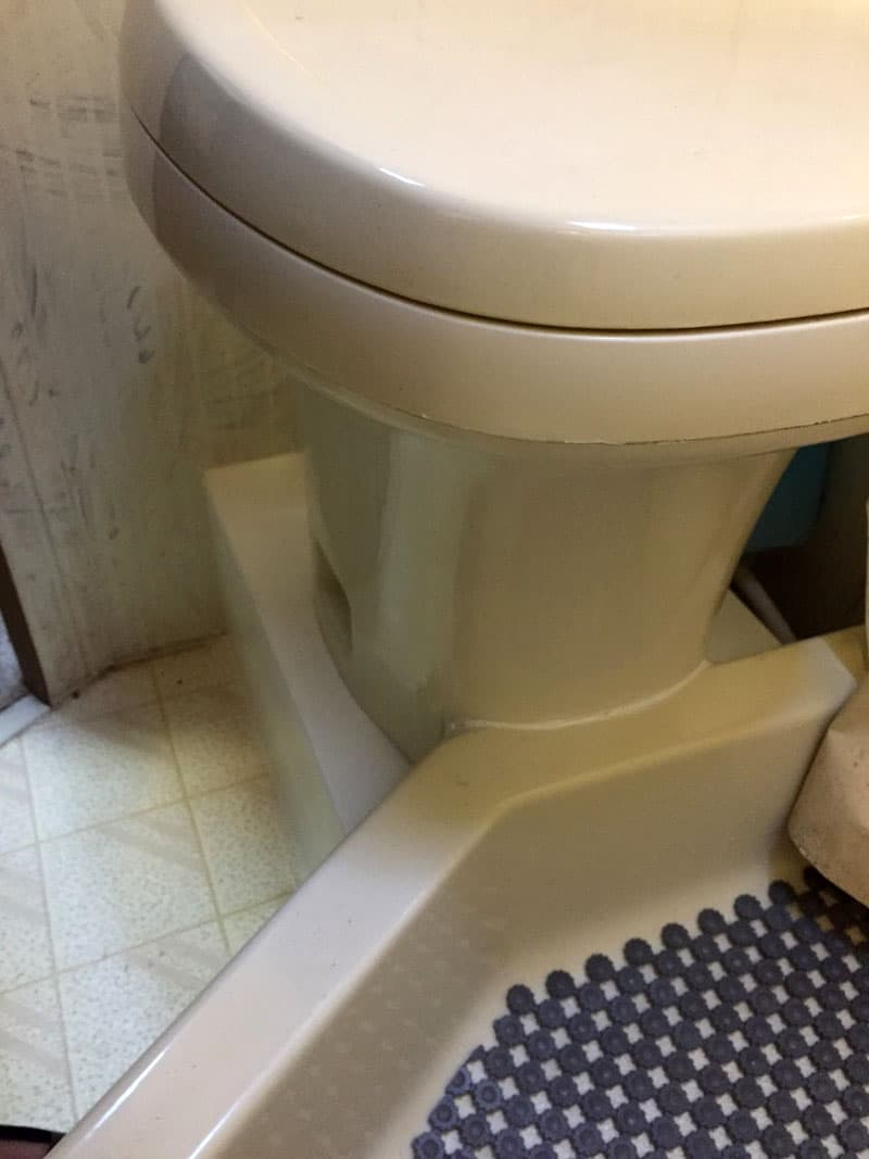 Toilet Moved For More Leg Room Seam Closeup