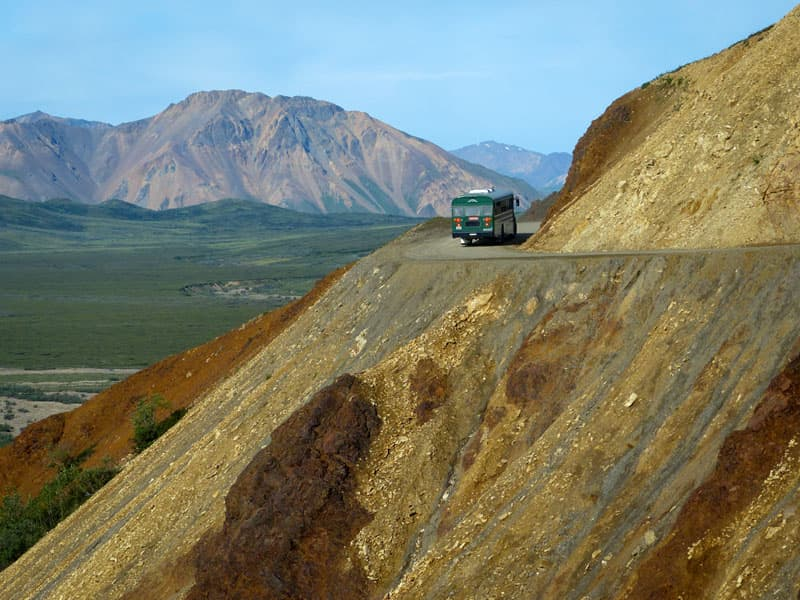 Denali bus on steep cliff