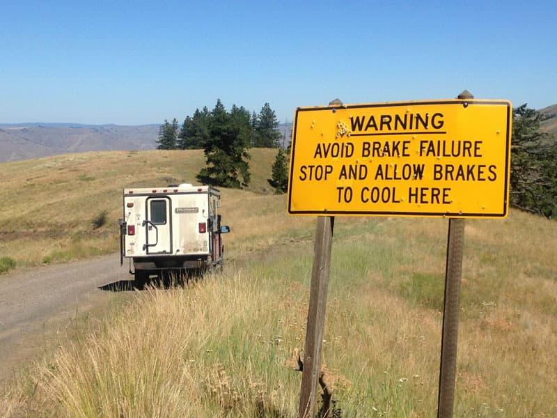 Brake failure, put truck in lower gear