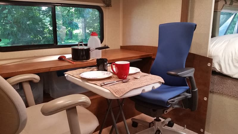 Office chairs in truck camper