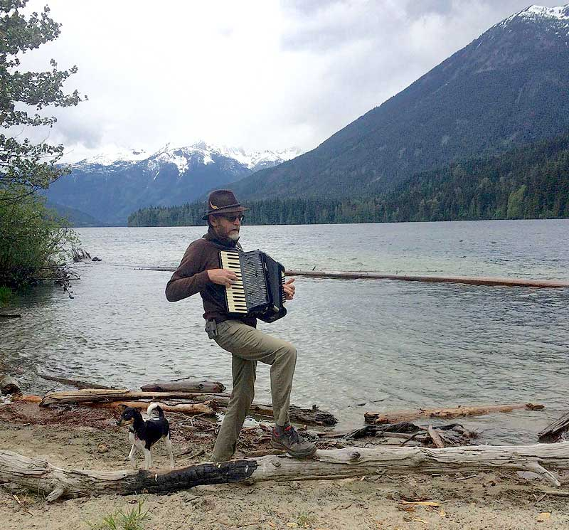Accordian playing at Birkenhead Lake Provincial Park, British Columbia
