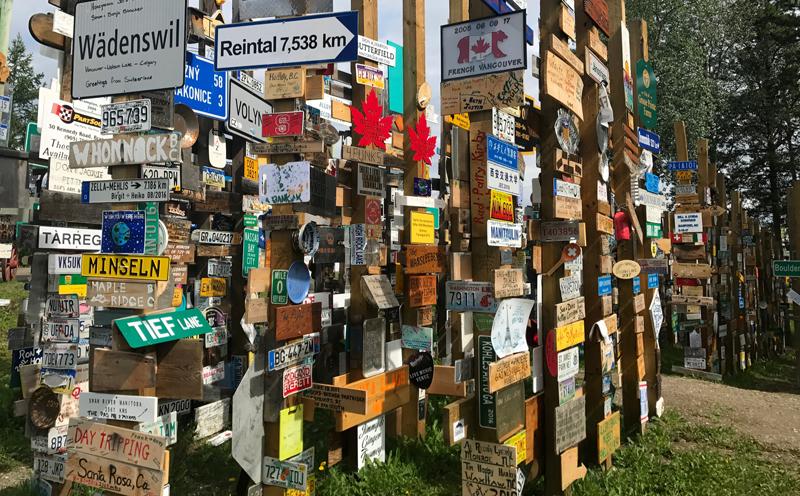 Adding A Sign Signpost Forest Watson Lake Yukon