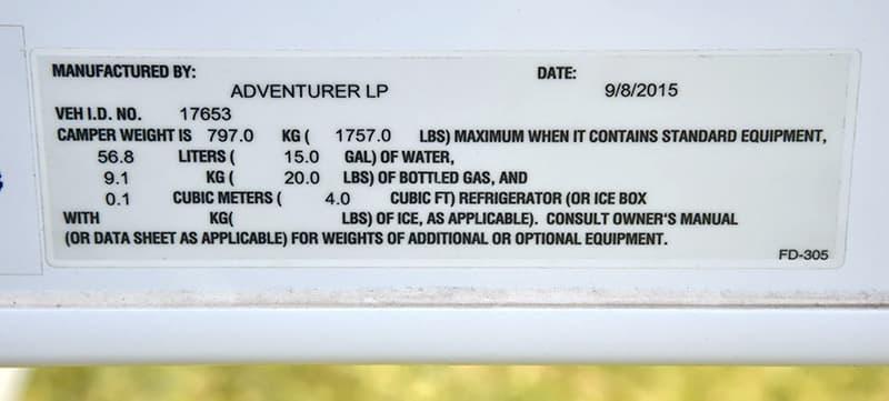 Adventurer-80RB-Weight-Sticker