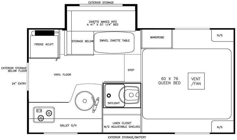 Adventurer 80S Truck Camper floor plan