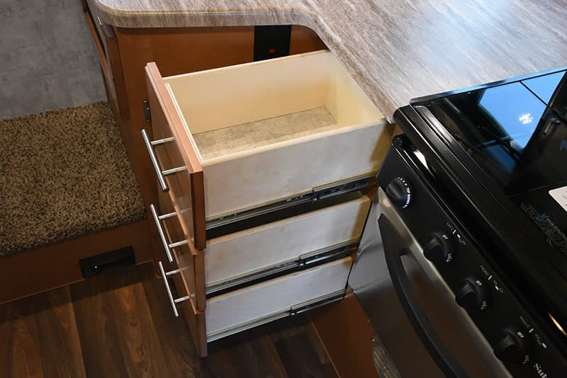 Adventurer 89RBS roller bearing guides on kitchen drawers