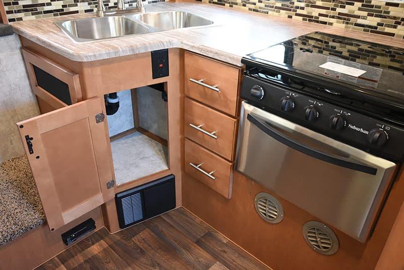 Adventurer 89RBS kitchen under sink trash area