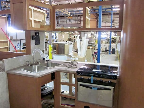 Kitchen on production line of Adventurer 89RBS