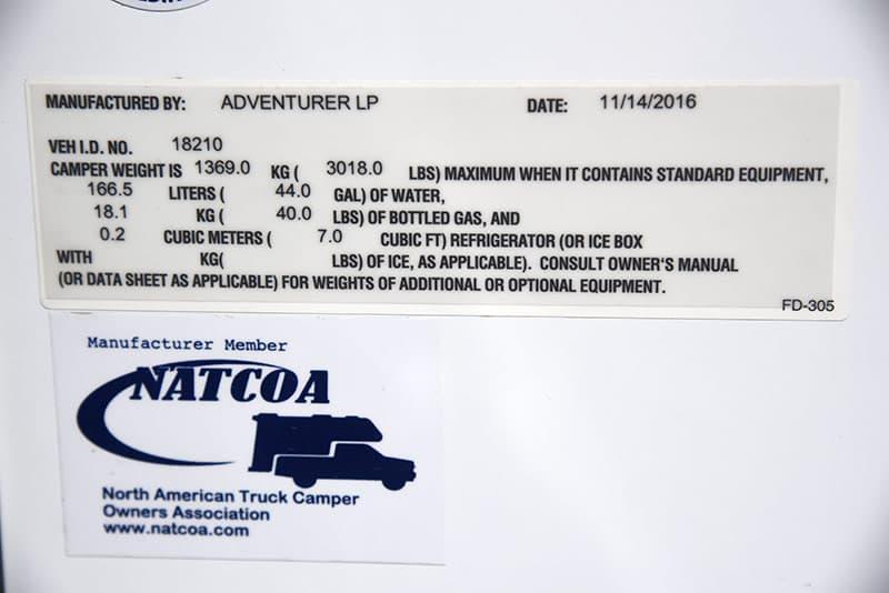 Adventurer 89RBS exterior weight sticker