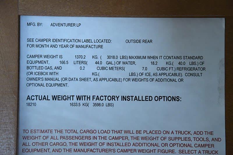 Adventurer 89RBS interior weight sticker