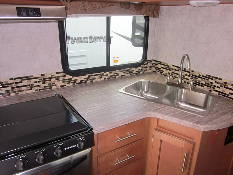 2017 Adventurer 86FB countertops and kitchen