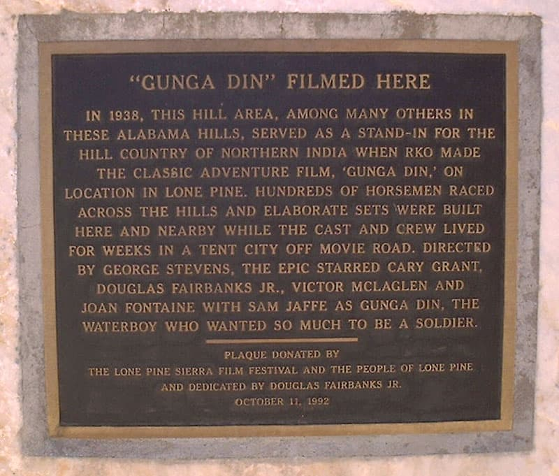 Gunga Din Plaque in Lone Pine, California