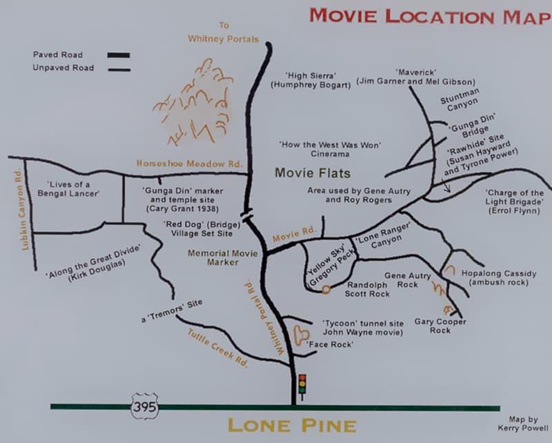 Movie Locator Map for Alabama Hills, California