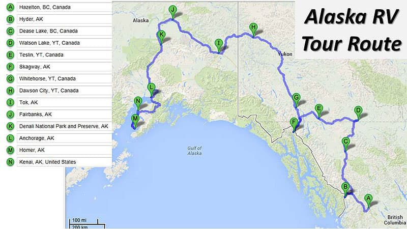 Alaska RV Tour Route