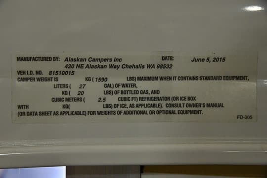 Alaskan Camper Review Weight Sticker