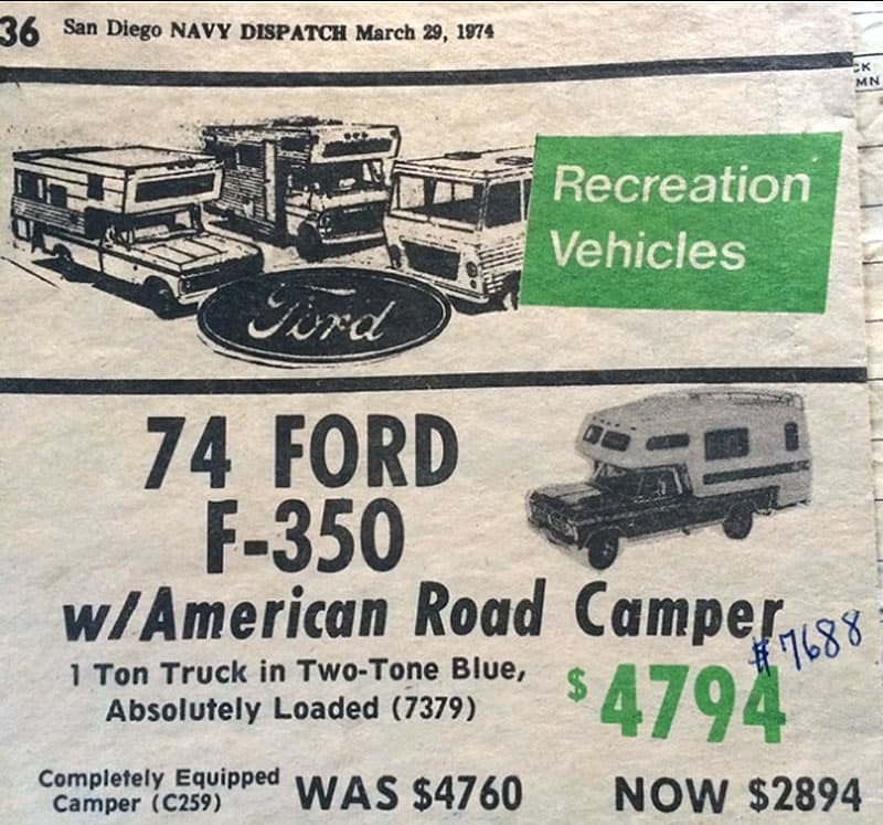 1974 Ford F350 camper advertisement
