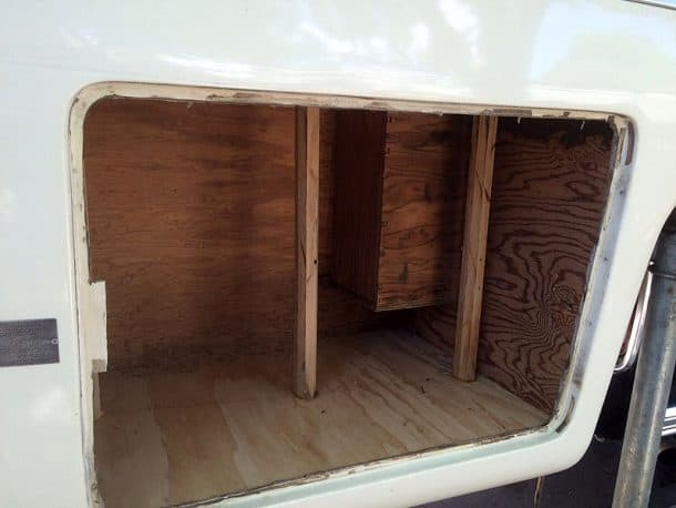 LPG compartment on the back overhang of the camper