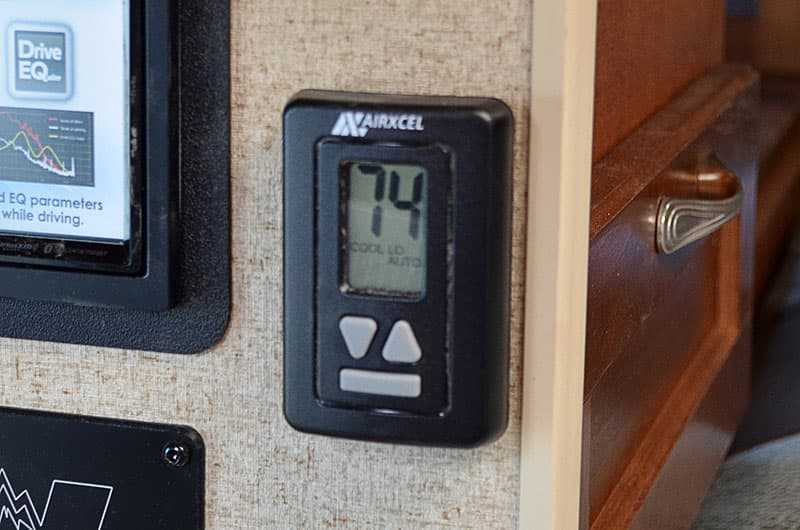 Digital thermostat on Arctic Fox Campers