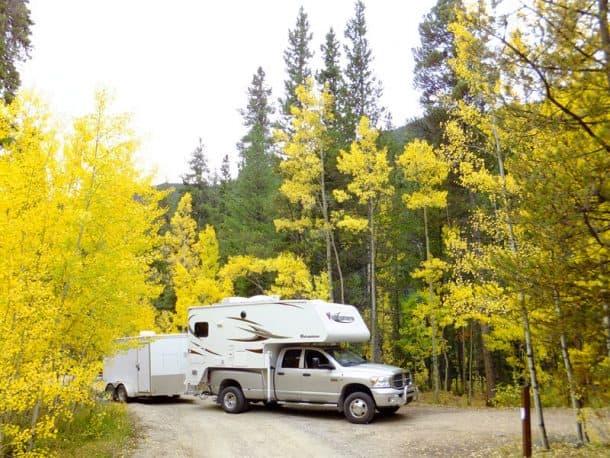 #296 - Alice TyserCollegiate Peaks Campground, Colorado2008 Dodge Ram2013 AdventurerCamera Used - PanasonicWe were camping at Collegiate Peaks Campground and snapped this photo when the Aspens were at their peak.