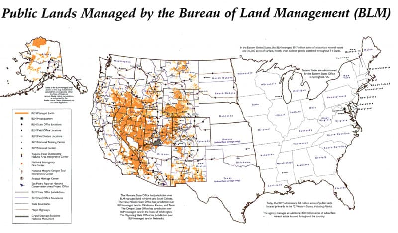BLM Land on a map