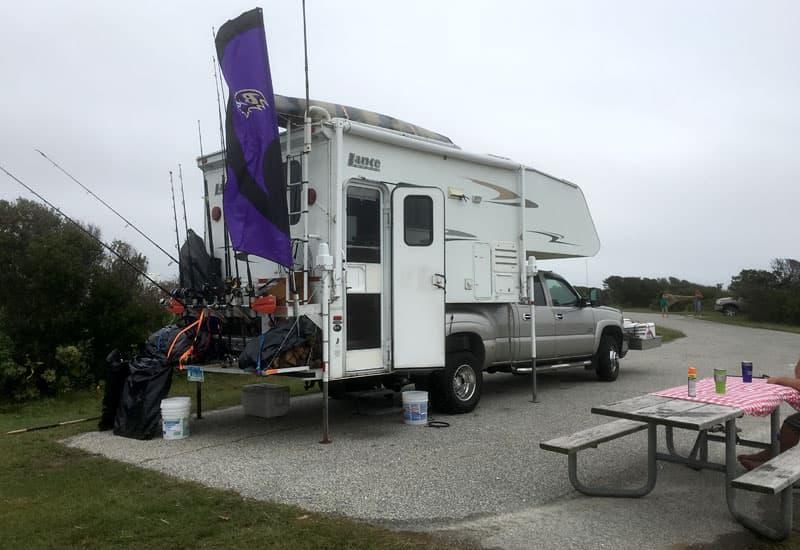 Fishing pole storage truck camper